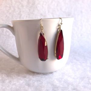Red Ruby Gem Teardrop Earrings